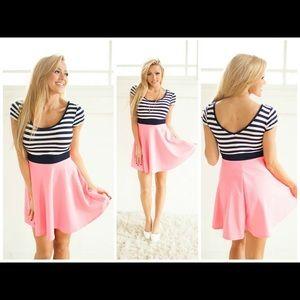 Dresses & Skirts - Striped Top Cap Sleeve Skater Dress